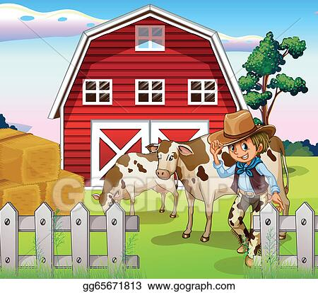 A Cowboy Inside The Farm With Cows And Barnhouse