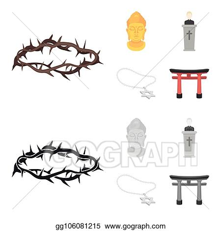 Vector Illustration A Crown Of Thorns A Star Of David A Priest A Buddha Head Religion Set Collection Icons In Cartoon Monochrome Style Vector Symbol Stock Illustration Web Stock Clip Art Nice women themed design featuring cartoon woman with dark skin, holding her hands up with golden crown on her head over circle element background. gograph