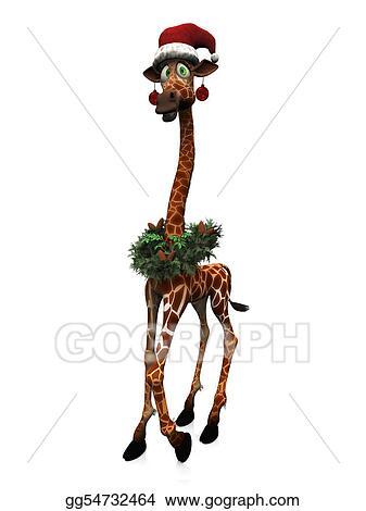 Drawings A Cute Goofy Cartoon Giraffe Wearing A Santa Hat