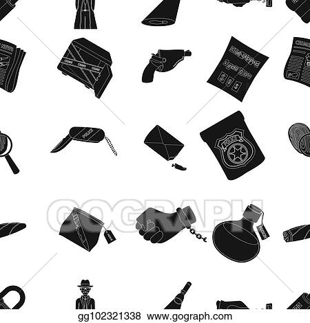 Clip Art A Detective A Pistol In A Holster A Police Badge A