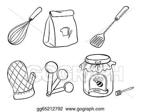 A Doodle Set Of Kitchen Utensils Baking Powder And Honey Jam