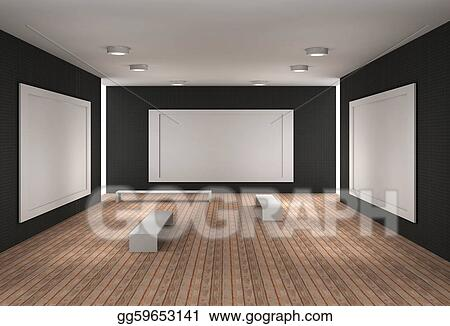 Clip art a empty museum room with frames stock illustration clip art a 3d illustration of a empty museum with frames stock illustration gg59653141 sciox Images