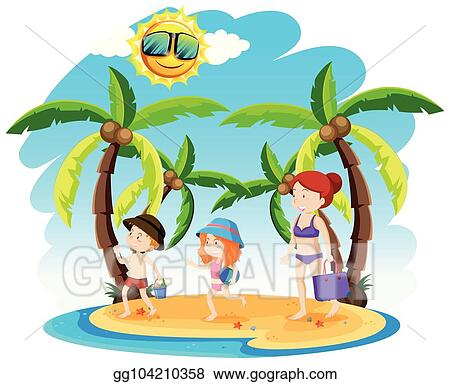 Vector Clipart A Family Holiday At The Beach Vector Illustration
