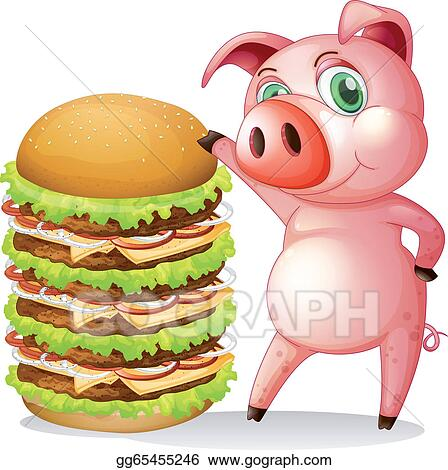 vector art a fat pig beside the giant hamburger clipart drawing