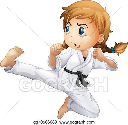Vector Art A Female Doing Karate Clipart Drawing Gg70566689 Gograph