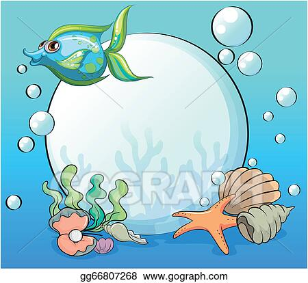 Clip Art Vector - A fish and other sea creatures near the