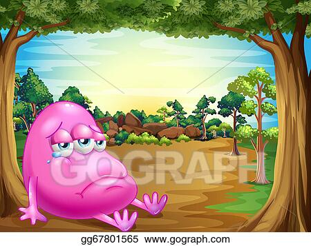 0caa618f31008 EPS Illustration - A forest with a sad fat beanie monster. Vector ...