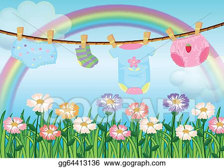 vector illustration a garden with hanging baby clothes stock clip