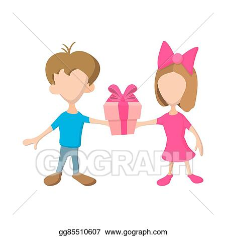 Drawings - A girl and a boy holding a gift box with ribbon  Stock