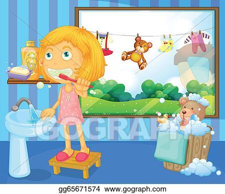 girl brushing teeth clipart. vector art illustration of a girl brushing her teeth clipart drawing gg65671574
