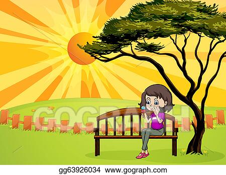 Cool Vector Stock A Girl In The Park Sitting In The Wooden Ocoug Best Dining Table And Chair Ideas Images Ocougorg