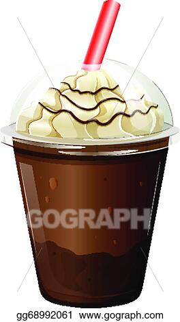 Vector Clipart - A glass of iced coffee. Vector ...
