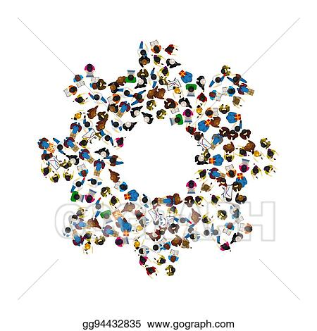 Vector Illustration - A group of people in a shape of