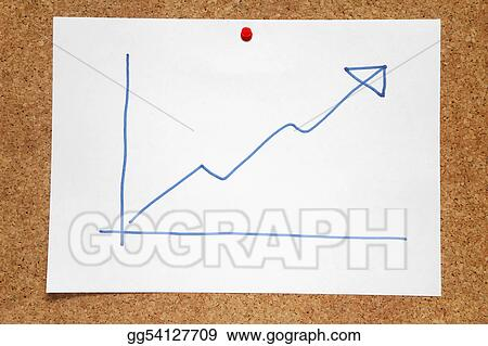 Stock Photo A Hand Drawn Positive Profits Chart On A Cork Notice