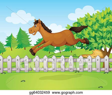 Eps Illustration A Horse Jumping Over The Fence Vector