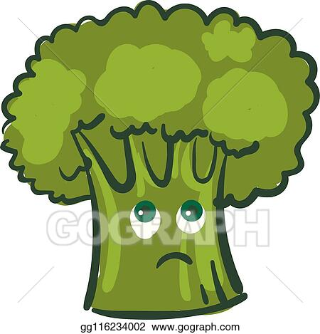 eps vector a melancholic broccoli vector or color illustration stock clipart illustration gg116234002 gograph gograph
