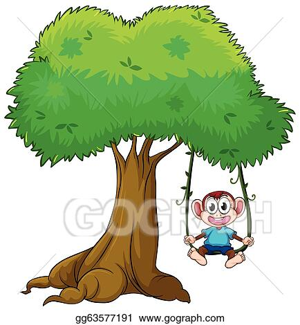 Vector Illustration A Monkey Playing Swing On Tree Eps