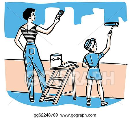 Stock Illustration A Mother And Child Painting Walls Together