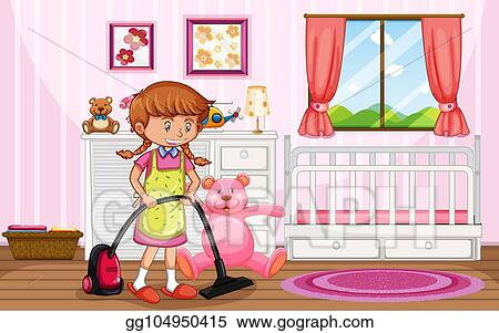 Eps Illustration A Mother Cleaning Kid Bedroom Vector Clipart