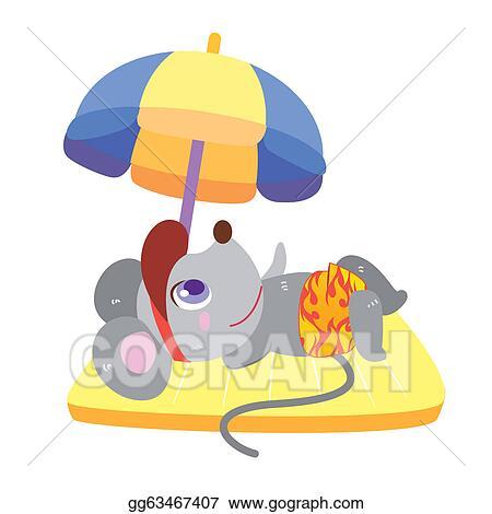 Vector Stock - A mouse's beach activities. Stock Clip Art ...