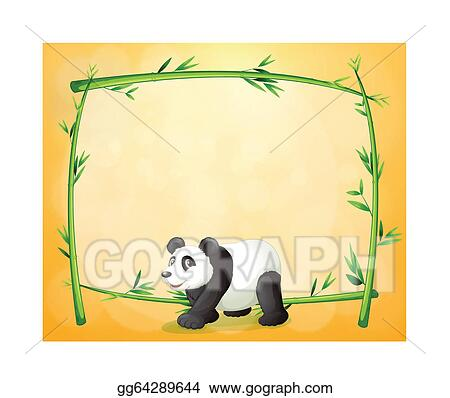 Vector Illustration A Panda And The Empty Green Frame Eps Clipart