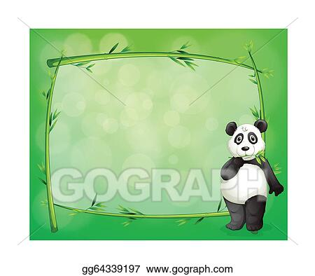 Vector Stock A Panda Beside A Frame Made Of Bamboo Clipart