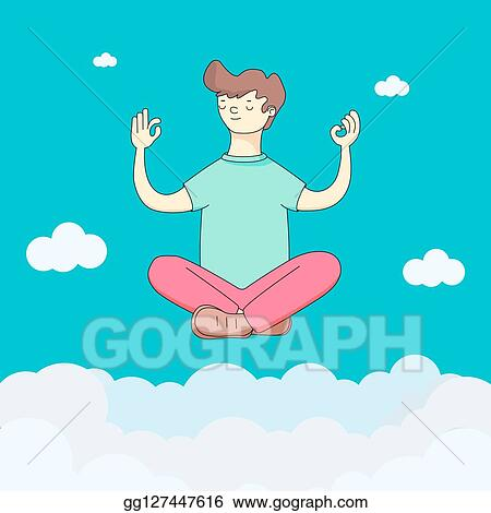 stock illustration  a person does yoga in the sky with