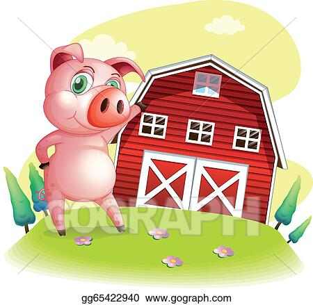 A Pig At The Farm Pointing Barnhouse