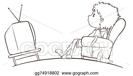 watching tv clipart black and white. vector clipart - illustration of a plain sketch boy watching tv on white background . gg74918802 black and