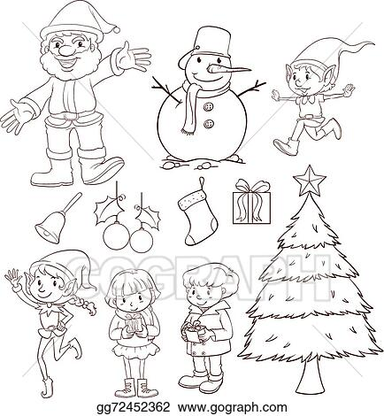 Christmas Celebration Images For Drawing.Vector Art A Plain Sketch Of A Christmas Celebration