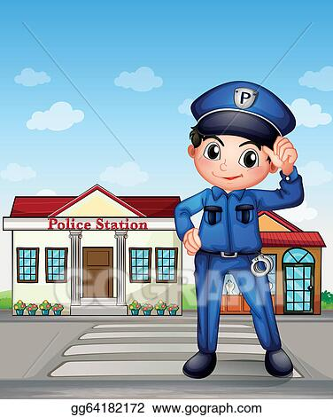 Police station clipart  Vector Art - A police officer in front of a police station ...