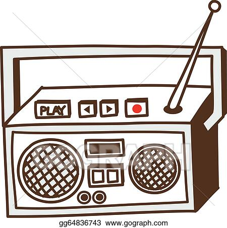 vector art a radio clipart drawing gg64836743 gograph rh gograph com radio clip art for valentine's day box radio clip art first invented