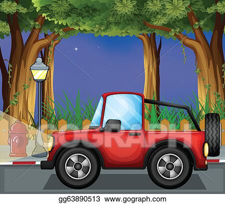 Eps Illustration A Red Jeepney In The Road Vector Clipart