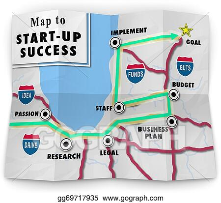 Stock Illustrations - A road map to start-up success offering ... on