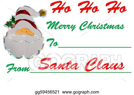 Stock Illustrations A Santa Signed Merry Christmas Gift Tag Design