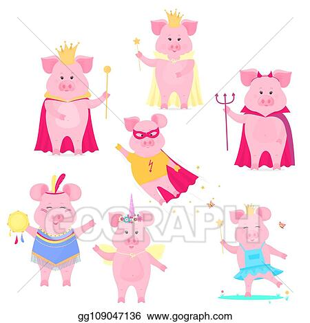 Vector Art A Set Of Funny Pig Characters The King And