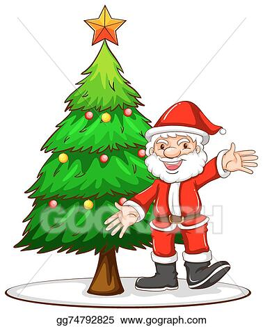 Clip Art Vector A Sketch Of A Christmas Tree With Santa Claus