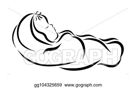 Drawing A Sleeping Baby Wrapped In A Diaper Clipart Drawing