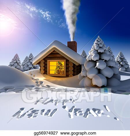 a small cottage in the fairy forest in snowy new years eve around the hut on the snow trails and an inscription a happy new year