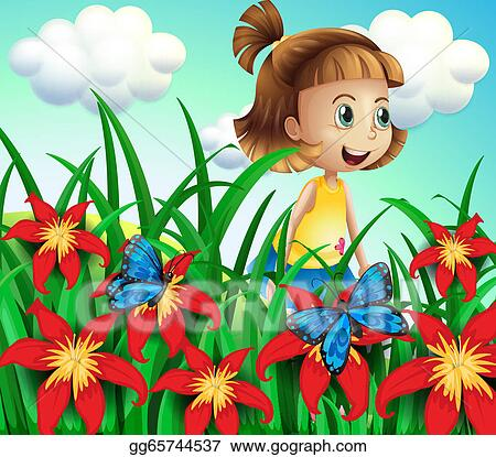 Flower Garden Drawing vector art - a small girl at the flower garden with butterflies