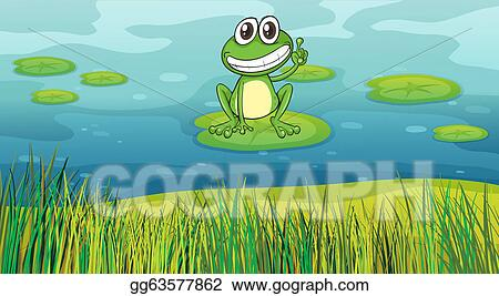 vector art a smiling frog in the pond eps clipart gg63577862 rh gograph com Frog Prince Black and White Frog Vector