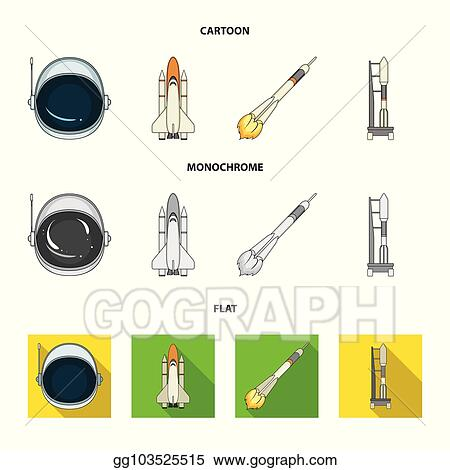 a spaceship in space a cargo shuttle a launch pad an astronaut helmet space technology set collection icons in cartoonflatmonochrome style vector symbol stock illustration web_gg103525515 vector illustration a spaceship in space, a cargo shuttle, a