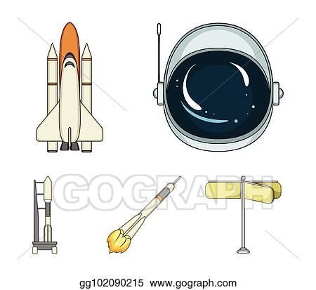 a spaceship in space a cargo shuttle a launch pad an astronauts helmet space technology set collection icons in cartoon style vector symbol stock illustration web_gg102090215 vector art a spaceship in space, a cargo shuttle, a launch pad, an