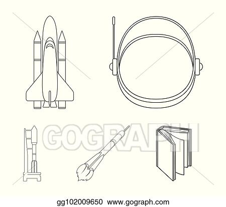a spaceship in space a cargo shuttle a launch pad an astronauts helmet space technology set collection icons in outline style vector symbol stock illustration web_gg102009650 eps illustration a spaceship in space, a cargo shuttle, a launch
