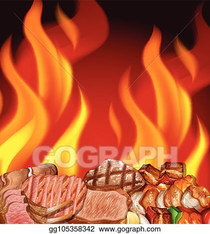 Barbecue Seamless Border. BBQ Party Template With Hand Drawn.. Royalty Free  Cliparts, Vectors, And Stock Illustration. Image 104890775.