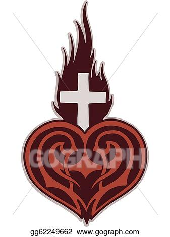 stock illustrations a stencil of a heart with a flaming cross upon