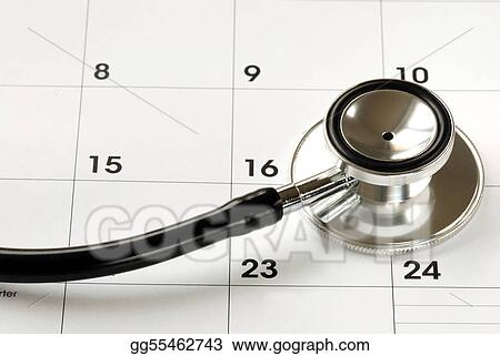 stock photo a stethoscope on the calendar concepts of medical