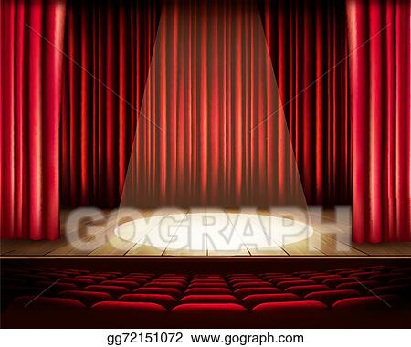 A Theater Stage With Red Curtain Seats And Spotlight Vecto