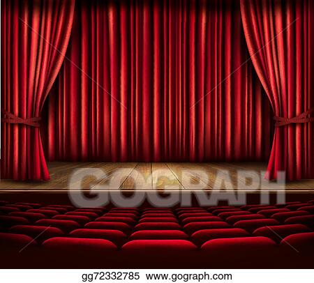 A Theater Stage With Red Curtain Seats And Spotlight Vector