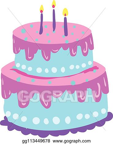 Tremendous Clip Art Vector A Two Layered Cake With Blue And Violet Birthday Cards Printable Nowaargucafe Filternl